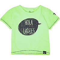 Mini boys green slogan print t-shirt