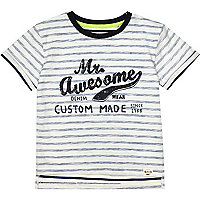 Mini boys blue stripe Mr Awesome t-shirt