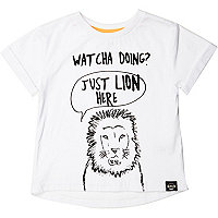 Mini boys white lion print t-shirt