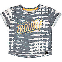 Mini boys grey trouble print t-shirt