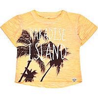 Mini boys orange paradise print t-shirt