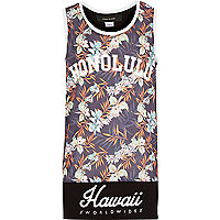 Boys grey Hawaii print vest