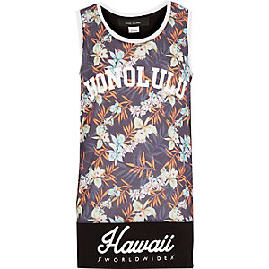 Boys grey Hawaii print vest
