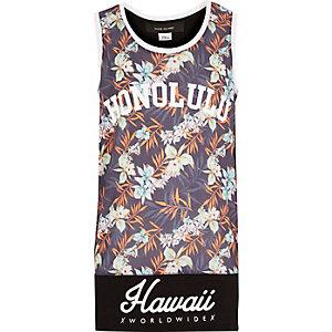 Boys grey Hawaii print tank