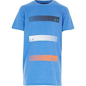 Boys blue marl NY LA print t-shirt