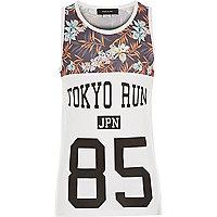 Boys white Tokyo Run print vest