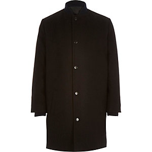 Boys black wool-blend longline jacket