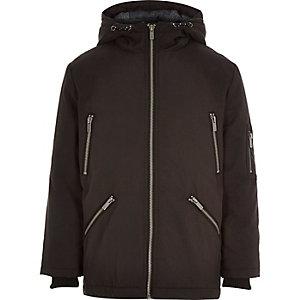 Boys black zip parka coat