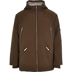 Boys khaki zip parka coat