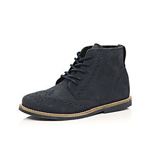 Boys navy leather brouge boots