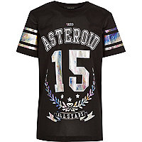 Boys black mesh longer length t-shirt