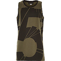 Boys khaki 5 print longer length vest