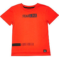 Mini boys red fearless print t-shirt