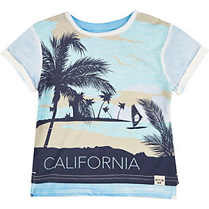 Mini boys blue California print t-shirt