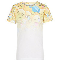 Boys white emoji print t-shirt