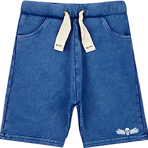 Mini boys blue acid wash shorts
