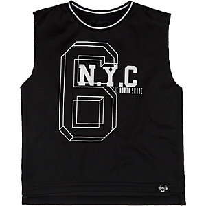 Mini boys black 6 NYC print tank top
