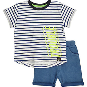 Mini boys blue stripe t-shirt shorts outfit