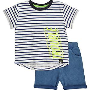 Mini boys blue stripe t-shirt shorts outfit