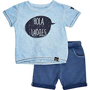 Mini boys blue hola t-shirt shorts outfit
