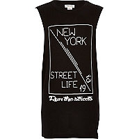 Boys black New York print tank top