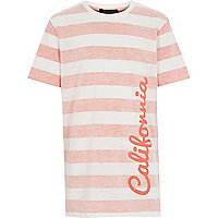 Boys orange stripe California print t-shirt