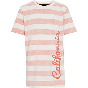 Boys orange stripe California print t-shirt