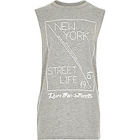 Boys grey New York longer length vest