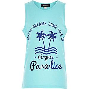 Boys turquoise curved hem paradise vest