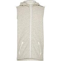 Boys ecru longer length sleeveless hoodie