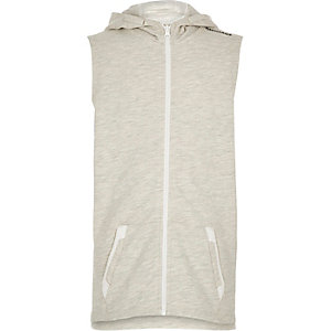 Boys ecru longer length sleeveless hoodie
