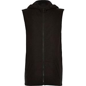 Boys black longer length sleeveless hoodie