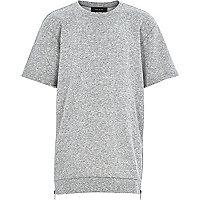 Boys grey longer length raw sleeve sweatshirt