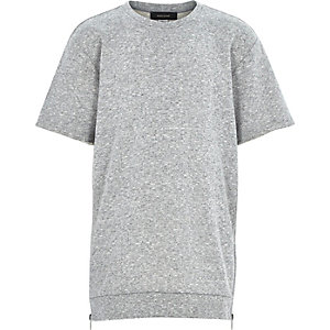 Boys grey longer length raw sleeve sweatshirt