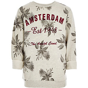 Boys ecru Amsterdam print sweatshirt