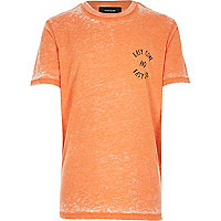 Boys orange burnout easy come print t-shirt