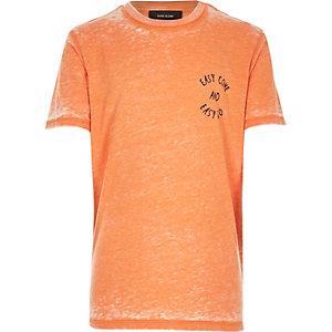 Boys orange burnout easy come print t-shirt