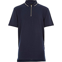 Boys navy textured zip neck polo shirt