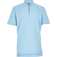 Boys blue textured zip neck polo shirt