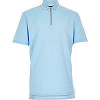 Boys blue textured zip neck polo shirt