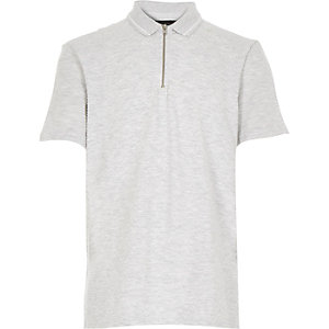 Boys grey textured zip neck polo shirt