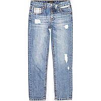 Boys blue ripped slim jeans
