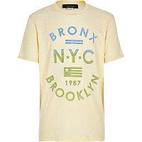 Boys yellow burnout Bronx print t-shirt