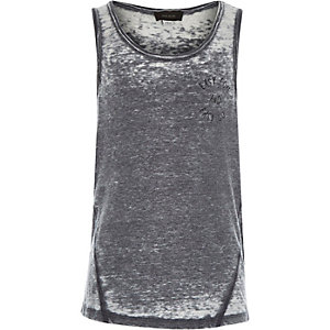 Boys grey curved hem burnout vest