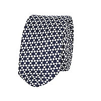 Boys navy blue geo print tie