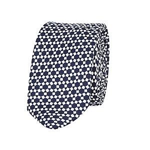 Boys navy blue geo print tie