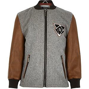Boys grey contrast sleeve bomber jacket