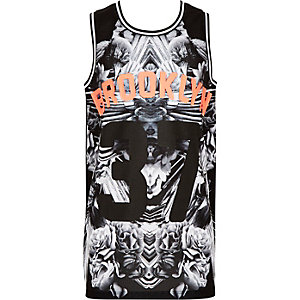 Boys black Brooklyn print vest