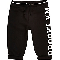 Mini boys black Brooklyn print joggers