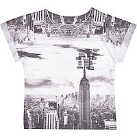 Mini boys white New York print t-shirt